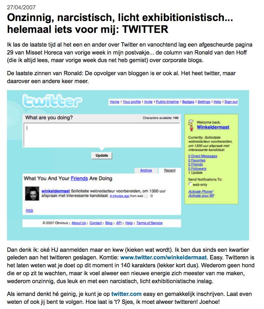 Eerste bericht over twitter