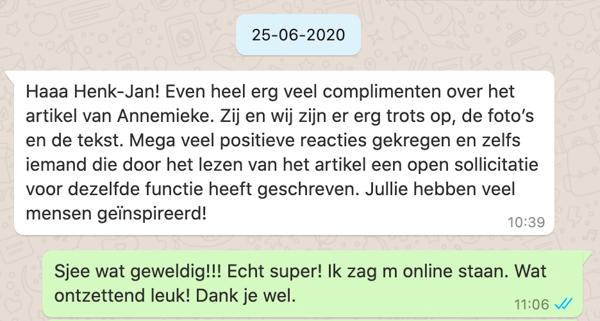 Whatsapp van Charlotte over interview met Annemieke ter Avest 1